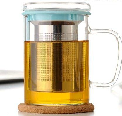 Wimports Tasse à thé en verre avec infuseur en acier inoxydable | | 2couleurs disponibles, Verre, bleu, 450ml