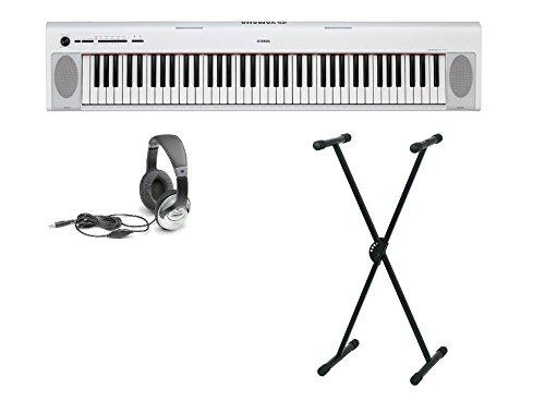 2 Portable Piano Set (76 anschlagdynamische Tasten, 10 Top-Sounds, Record-Funktion, inkl. Keyboardständer, Kopfhörer und Klavierschule, USB, Batteriebetrieb möglich) weiss ()
