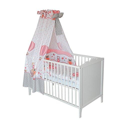 SWADDYL Kinderbettgarnitur 5 teilig, Bettwäsche Set (Kissen, Decke, Bettlaken) I Himmel I Nestchen, Bettset für Babybett (Rose) - Eule (Bettwäsche-set Für Ein Kinderbett)
