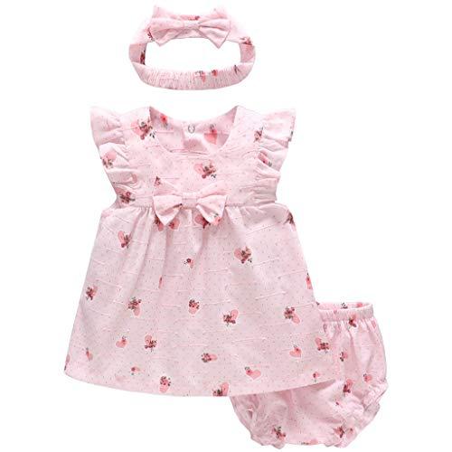 JiAmy Baby Mädchen Sommer-Kleidung-Set Kurzarm-Kleid + Shorts + Stirnband 3 Stück Outfit-Set, 3-6 Monate Sommer Kleid Set
