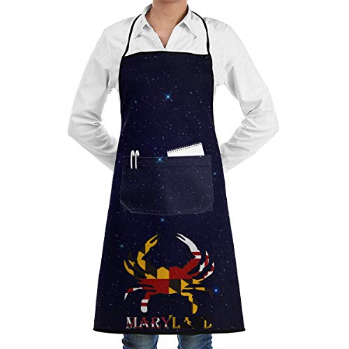 Taco Kostüm Kinder - Aprons for Men Crab Maryland Flag Menâ€s Womenâ€s Unisex Supermarket Overalls Kitchen Long Aprons Sleeveless Overalls Portable with Pocket for Cooking,Baking,Crafting,Gardening,BBQ
