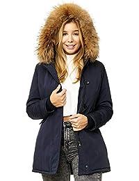 Elara Damen Winterparka   Jacke mit Echt Pelz Fell Kapuze   Designer  Damenjacke tailliert   Gefüttert Outdoor Mantel  … 9598405122