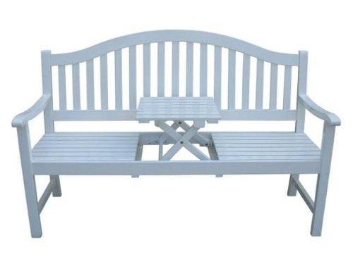 """VARILANDO Gartenbank """"Primrose"""" aus weiß lackiertem Eukalyptus Holzbank Sitzbank 3-Sitzer Hochzeitsbank"""