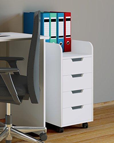 VCM Rollcontainer Bürocontainer Schubladenschrank Büroschrank Schubladen Konal Maxi Weiß