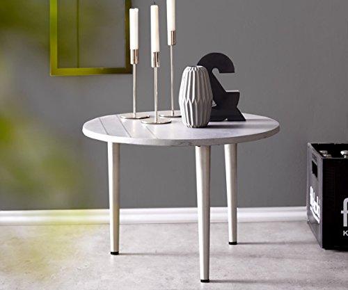 DELIFE Dekotisch Metropolitan Grau 50 cm Beton Edelstahl Inlays rund Beistelltisch