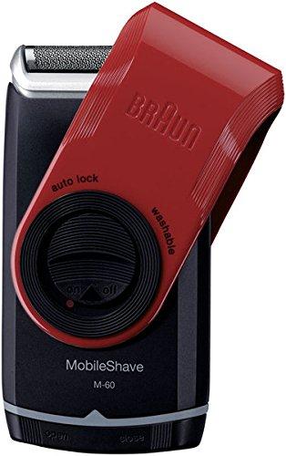 Braun MobileShave Elektrischer Rasierer M-60R, mit Schutzkappe, rot