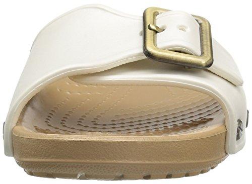 Crocs Sarahsandalw, Pantoufles Femme Blanche (oyster / Gold)