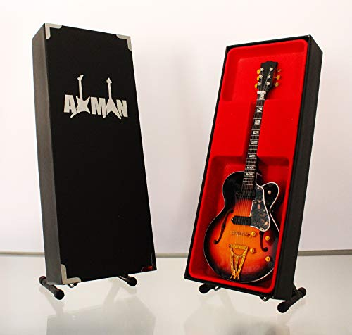 63Gibson Super 400-Modell Mini Rock Kuriositäten Nachbildung Holz Miniatur-Gitarre & Display Gratis Ständer (UK Verkäufer) ()