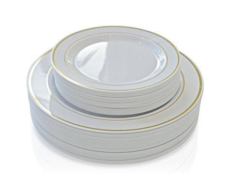 26,7cm + 19,1cm White/Gold Rim Teller Gold Trim