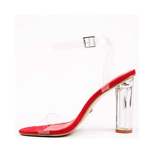 Ideal Shoes Sandales Transparentes Effet Daim Banania Rouge