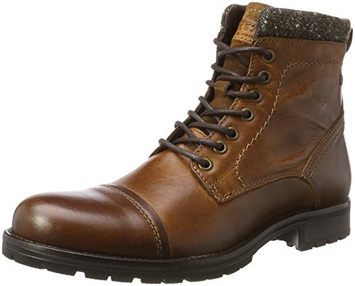 JACK & JONES Herren Jfwmarly Leather Cognac Klassische Stiefel, Braun (Cognac), 45 EU