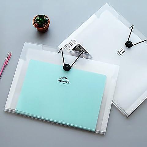 Ya Jin A4Datei Elastic Verschluss Ordner 5/8/12Layer durchscheinend Scrub einfachen Stil Akkordeon Dokument Veranstalter 5 Pockets weiß