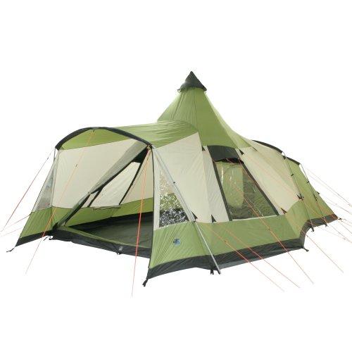 10T Campingzelt Navaho 5 wasserdichtes Tipi Tunnelzelt 5 Mann Schlafkabine Vordach Bodenwanne Grün