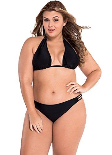 CHENGYANG Donne Halter Mare Costumi Da Bagno Due Pezzi - Bikini Top & Triangle Bottom Swimwear Nero 2XL