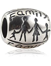 Familia de soulbead Forever Together Charm plata de ley 925forma ovalada cuentas para pulsera de estilo europeo