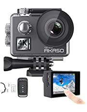 AKASO V50Elite 4K 60fps WiFi Action Camera Touch Screen Voice Control EIS 40m Waterproof Underwater Camera Adjustable View Angle 8X Zoom Remote Control Sports Camera with Helmet Accessories Kit