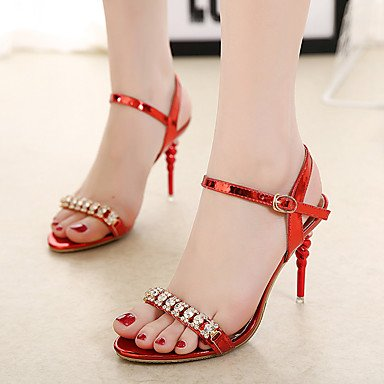 Sommer Schuhe Damen Sandalen Kleid Lässig-Kunstleder-Stöckelabsatz-Komfort-Gold Silber Rot Red