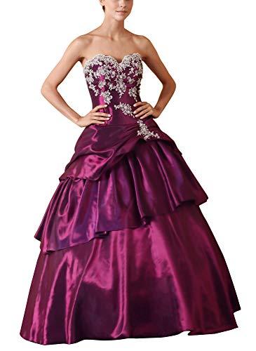 Romantic-Fashion Damen Ballkleid Abendkleid Lang Brautkleid Modell E615-E619 A-Linie TAFT Perlen Pailletten DE Lila Größe 50