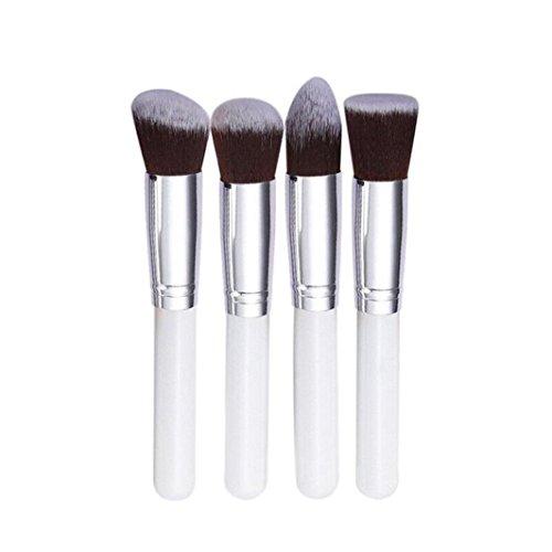 Ineternet 4 Pcs synthétique Kabuki Plat Foundation Brush Pinceaux de Maquillage (Blanc+Argent)