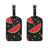COOSUN Fresh Slices of Red Watermelon Luggage Tags Travel Labels Tag Name Card Holder for Baggage Suitcase Bag Backpacks, 2 PCS