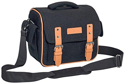 PEDEA SLR-Kameratasche Vintage Schultertasche Messenger Kameratasche Umhängetasche Kamera Tasche mit Regenschutz, Tragegurt und Zubehörfächern, XL schwarz
