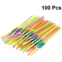 Healifty 100 unids Paraguas Pajitas de Beber Bendable 3D Cocktail Straws Party Supplies (Color Surtido)