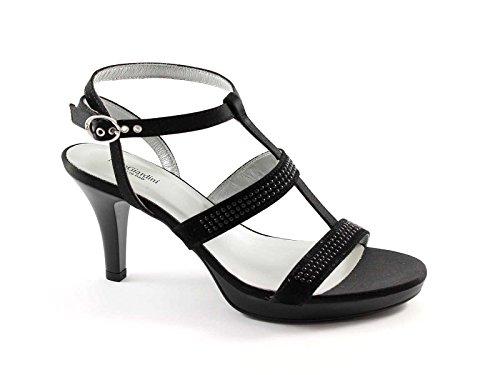 BLACK GARDENS 13011 schwarzem Veloursleder Heel Sandalen Schuhe Frau Nero