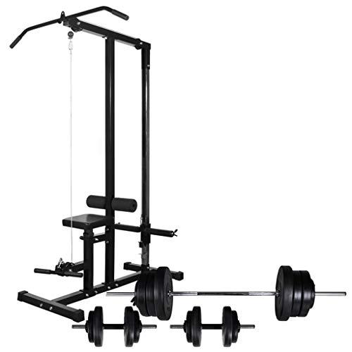 Festnight Macchina Multistazione Fitness da Palestra con Bilanciere e Set di Manubri 60,5 kg,Multistazione Fitness Palestra