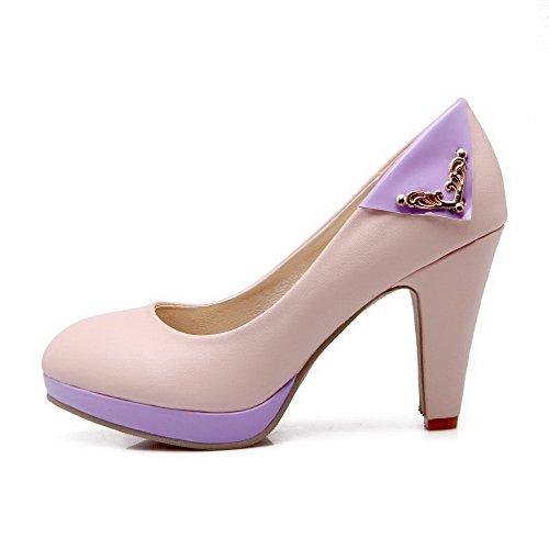 AgooLar Femme Matière Souple Rond à Talon Haut Tire Couleurs Mélangées Chaussures Légeres Rose