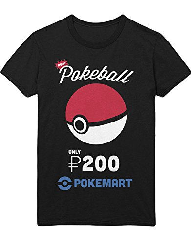 T-Shirt Poke Go New Pokeball Only 200 Pokedollar at Pokemarkt Catch 'Em All Hype Kanto X Y Blue Red Yellow Plus Hype Nerd Game C980107 Schwarz XXL