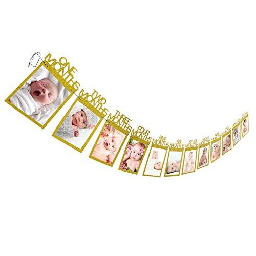 inder Geburtstag Geschenk Dekorationen 1-12 Monat Foto Banner Monatliche Foto Wand_Gold (Banner Dekoration)