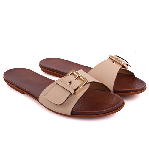 Unze Nouvelle Orléans femmes 'Slide Sandals Summer Beach Party Get Together School Carnaval Casual Chaussons Pantoufles Grande-Bretagne Taille 3-8 Beige
