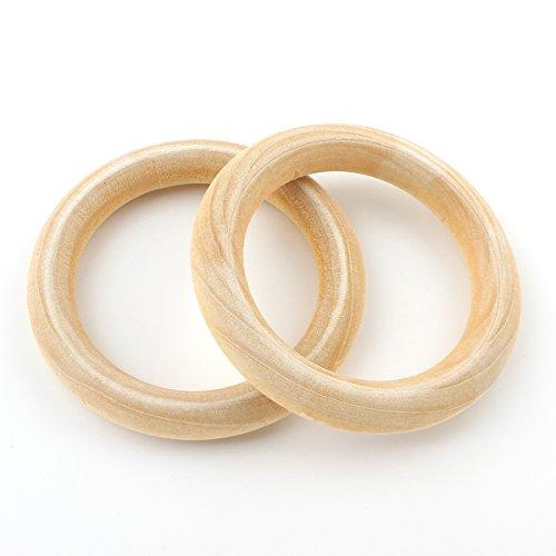 Perlin Holzring, Ø 50mm Buchenholz Schmuck, 10stk Unvollendete glatten Holz Hoop Baby Kinder Spielzeug, Gardinenringe, Vorhangringe, Ringe aus Holz für das Handwerk Basteln DIY H165 x2