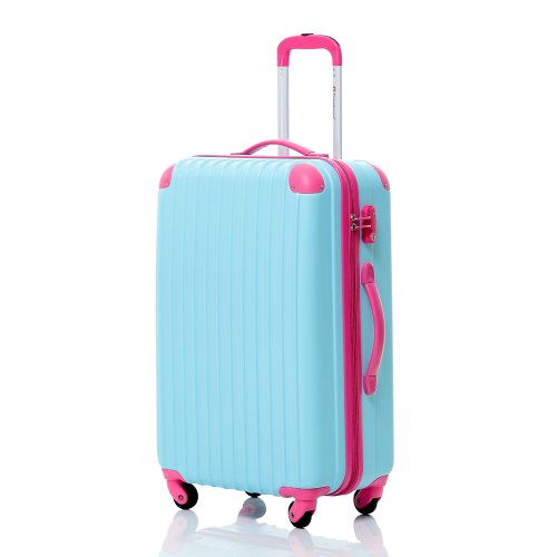 "Travelhouse Hard shell Lightweight Travel Luggage Suitcase- 4 Wheel Spinner Trolley Bag (18.5"", BLUE & ROSE)"