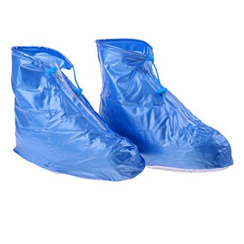 MagiDeal Regenüberschuhe Wasserdicht schuhe Abdeckung Regenschuhe Überziehschuhe Regen Schutzschuhe Fahrrad Überschuhe für Erwachsene - Blau - S