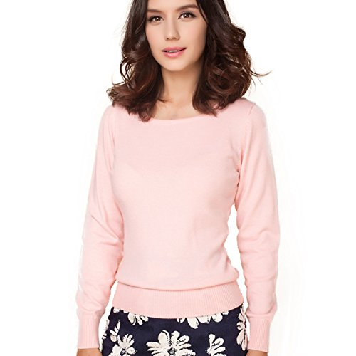 First Lady Womens Pink T-shirt (Panreddy Women's Cashmere Wool Blended Long Sleeve Crew Neck Sweater Pink S)