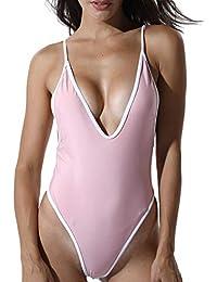 FITTOO Femme Bikini Maillot de Bain Echarpe Ajustable Une Pièce Sexy Push  Up Dos Nu Coussinets cf31ef0c9de