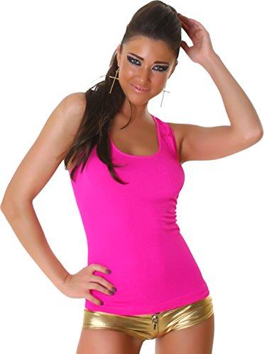 Femmes Shirt T-Shirt Top modèle Loch Optik Uni réservoir sans manches côtes design et tendance Rose