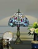 8 Pulgadas Azul Abalorio Libélula Estilo Pastoral Antiguo Lujo Hecho a mano Lámpara de mesa de cristal Mesita de noche Habitación Luz para niños