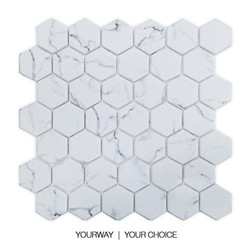 UW Statuario Bianco Esagonale Marmo Mosaico Piastrelle per paraspruzzi Parete Bagno Cucina (Confezione da 6), Statuario White, 300x302mm