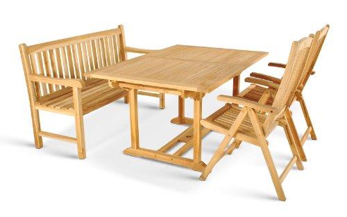 XXS® Möbel | Gartenmöbel Set | Balkonmöbel | Ausziehbarer Tisch Mit Bank  Und Zwei