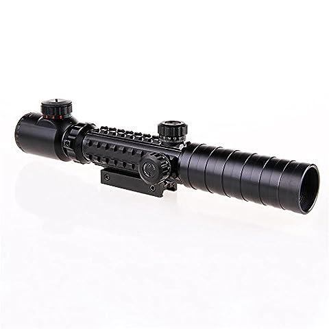 Spike C3-9X32EG Tactical Optical-Gewehr-Bereich Rot Grün Doppel beleuchtet w / Side Rails & Berg Jagd Airsoft