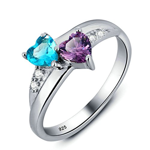Aooaz Silver Plated Ring Double Heart Ring Purple & Blue CZ Crystal Womens Wedding Band (Hot Ring) Size P 1/2