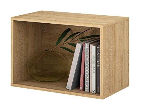 Samblo mizu cubo impilabile rettangolo, legno e melammina, quercia, 40x 60x 33cm