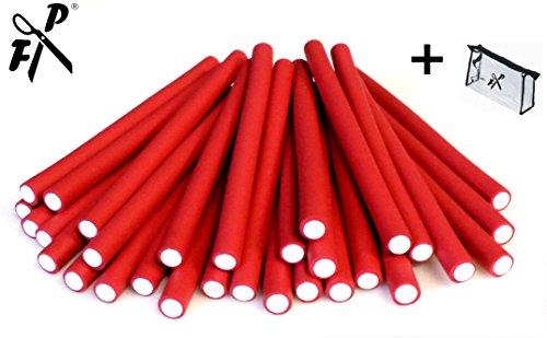 Papilotten - Flex-Wickler Set 36 Stck. + Kosmetiktasche - 12 mm rot (von deutschem Friseurbedarf-Fachhändler!)