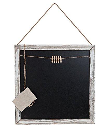 Memotafel Memoboard 45x45cm Tafel Wandtafel aus Holz in weiß gewischt mit Klammern & Kordeln zum Hängen - Landhaus Vintage Shabby Kreide Kreidetafel Küchentafel Wäscheklammer