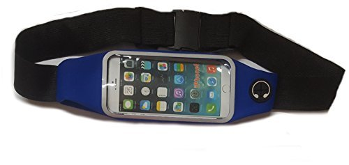 "SPORT Livexcllent Cintura da corsa impermeabile, ELÁSTICA. schermo capacitivo per smartphone fino a 5'5, iPhone, 6S, iPhone, 6S plus, Samsung S4/S6, S7, ecc) uscita Note 4-costruzione, blu) """