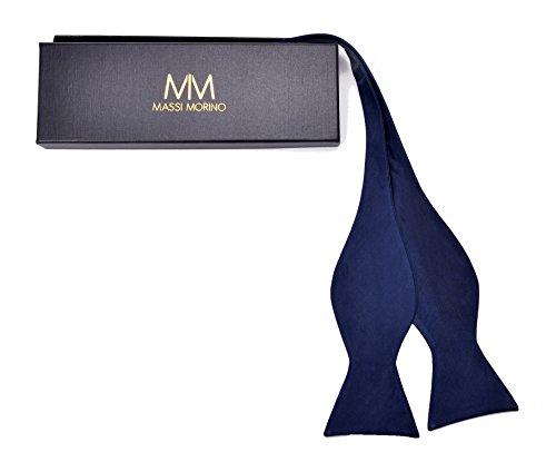 Massi morino papillon realizzato in seta al 100%, cravatta a farfalla cucita a mano regolabile per l'auto legatura, incl. confezione regalo nobile e istruzioni (blu scuro)