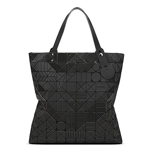 Geometrische Lingge Matte Frauen Handtaschen Pruse Large Capacity Tragbare UmhäNgetasche Black