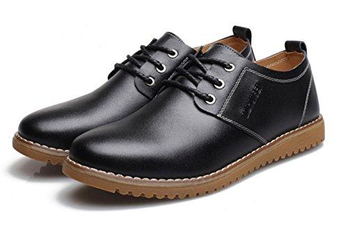 WZG chaussures en cuir décontractée de la Nouvelle-Angleterre hommes pour aider à marée basse respirant chaussures de société occasionnels Flats 9.5 , black , 41